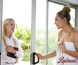 Charlotte Stokely gracefully entered Lily Labeaus place having no clue whats about to happen. Lily used all her tricks to seduce the beautiful blonde!
