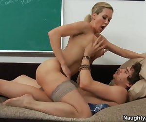 Brandi Love is a hands on kind of teacher, so I wasn't surprised to see her riding her students, and sucking their cocks. Hey, that's a real education, folks. You know what I mean?