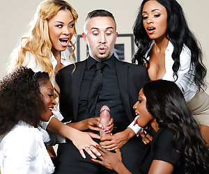 Leave it to the four bosses interviewing Keiran Lee for a job today to toy with him in the board-room. Instead of looking at his CV or work experience, these horny ebony nymphos wanted a piece of his big fat cock. Feast your eyes on Jasmine Webb, Anya Ivy, Diamond Jackson, and Jade Aspen as they tested out what really matters in their prospective hire: his sexual prowess! While Keiran was stretching out the pussies and throats of these lusty ladies, watch how these nymphos got each other off with hot lesbian pussy-eating, fingering, and facesitting in their super-nasty office reverse gangbang.