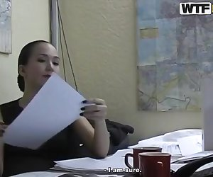 Hot brunette office lady Natasha with a beautiful body and long hair getting pleasured in her office to get her relaxed after a long and tiring day of lots of working with amazing sex