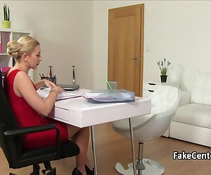 Hot lesbian agent in black lingerie welcomed brunette babe on casting interview and licked her tight pussy then fingered on office table until orgasm