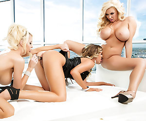Samantha Saint is a horny lesbian babe who wanted two sexy blonde sluts that were just as busty and fuckable as she is, so she called up the two best big-tit hotties in the business: Summer Brielle and Courtney Taylor! Check it out as three of the sexiest blue-eyed beauties in the world lick, suck, and fuck each other's tight pussies in every combination. They use everything from their tongues and fingers to their favorite dildos and strap-ons to bring each other to intense orgasms that leave each and every one of them satisfied and dripping wet!
