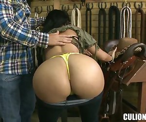 While making shopping, Natasha visits one store, where she puts a sombrero on her head and starts to curve in front of the owner. He doesn't waste his time and grabs her huge boobs and a big ass.